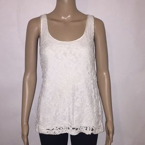 Banana Republic white lace racer back tank Sz 8